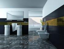 Nowożytny łazienki wnętrze z obmycie płytkami i basenem zdjęcie royalty free