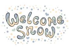 Nowożytny śmieszny literowania powitania śnieg Zdjęcia Royalty Free