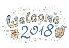 Nowożytny śmieszny literowania powitanie 2018 Ręka rysunkowego koloru ornament Fotografia Stock