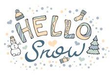 Nowożytny śmieszny literowanie śnieg Cześć Fotografia Stock