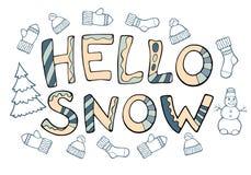 Nowożytny śmieszny literowanie śnieg Cześć Ręka rysunku ornamentu listy Obrazy Royalty Free