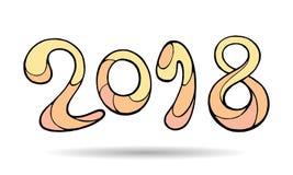 Nowożytny śmieszny literowanie 2018 Wektorowy ręka koloru rysunku ornament Fotografia Royalty Free
