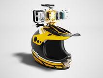 Nowożytny żółty motocyklu hełm z żółtym kamery dobra widokiem 3d ilustracja wektor