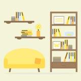 Nowożytny żywy izbowy wewnętrzny projekt z meble ilustracji