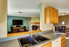 Nowożytny żywy izbowy wnętrze w zielonych brzmieniach Widok od kuchennego terenu Obraz Royalty Free