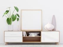 Nowożytny żywy izbowy wnętrze z drewnianym dresser i kwadratowym plakatowym mockup, 3D odpłaca się ilustracja wektor