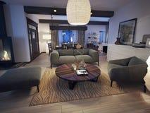 Nowożytny żywy pokój Zdjęcie Royalty Free