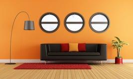 Nowożytny żywy pokój z czarną leżanką ilustracja wektor