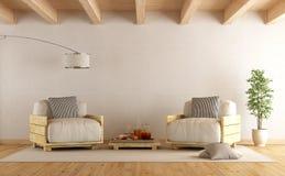 Nowożytny żywy pokój z dwa barłogów karłem ilustracja wektor