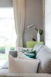 Nowożytny żywy pokój z kanapą i zielony stół popieramy kogoś Obrazy Royalty Free
