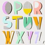 Nowożytny abecadło w geometrycznym Memphis stylu Modny retro stylowy typ również zwrócić corel ilustracji wektora ilustracji