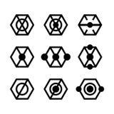 Nowożytny abstrakcjonistyczny wektorowy logo lub element Prosty sześciokąt dla tożsamość logotypów Szablon ikon collrction odizol Zdjęcie Stock