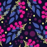 Nowożytny abstrakt opuszcza i rozgałęzia się na błękitnego tła bezszwowym wzorze ilustracja wektor