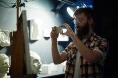 Nowożytny artysta Fotografuje jego arcydzieło Fotografia Stock