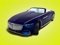 Nowożytny błękitny elektrycznego samochodu odwracalny perspektywiczny widok 3d odpłaca się royalty ilustracja
