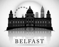 Nowożytny Belfast miasta linii horyzontu projekt Północny - Ireland ilustracja wektor