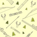 Nowożytny bezszwowy liniowy wzór z jelenimi głowami, łowieckim wyposażeniem i broniami na żółtym tle, również zwrócić corel ilust Fotografia Stock