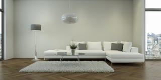 Nowożytny biały żywy izbowy wewnętrzny projekt ilustracja wektor