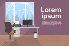 Nowożytny Biurowy wnętrze Żadny ludzie biurka Z komputerem I krzesłem, Pusty miejsca pracy tło ilustracji