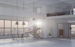 Nowożytny biurowy wnętrze w dniu 3 d czynią obraz stock
