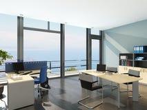 Nowożytny biurowy wnętrze z spledid seascape widokiem Obrazy Royalty Free