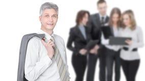Nowożytny biznesmen na tle biznes drużyna zdjęcia royalty free