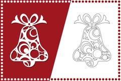 Nowożytny Bożenarodzeniowy dzwon Nowy Rok zabawka dla laserowego rozcięcia również zwrócić corel ilustracji wektora ilustracji