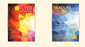 Nowożytny broszurki pokrywy i letterhead szablonu wieloboka niski geomet Fotografia Royalty Free