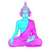 Nowożytny Buddha słucha muzyka w hełmofonach w neonowym kolorze royalty ilustracja