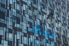 Nowożytny budynek biurowy stali i szkła fasadowy odbija constru Fotografia Royalty Free
