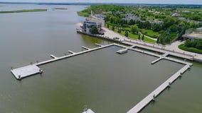 Nowożytny budynek dla wydarzeń na jeziorze Pi?kny miejsce widok z lotu ptaka zbiory