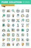 Nowożytny cienieje kreskowe ikony ustawiać dystansowa edukacja, online uczenie, książki ilustracji