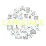 Nowożytny cienieje kreskowych pojęcia uczenie języki obcy, językowy centrum szkoleniowe ilustracji