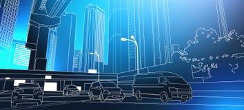 Nowożytny City Road Cienki Kreskowy pejzaż miejski Z Wysokimi drapaczami chmur Na Błękitnym tle ilustracja wektor