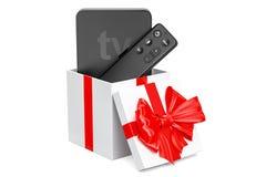 Nowożytny Cyfrowy Media Player TV wśrodku prezenta pudełka, prezenta pojęcie 3d Obraz Royalty Free