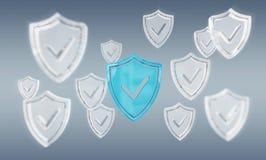 Nowożytny cyfrowych dane osłony antivirus 3D rendering Zdjęcie Royalty Free