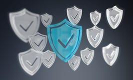 Nowożytny cyfrowych dane osłony antivirus 3D rendering Obrazy Royalty Free