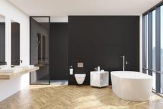 Nowożytny czarny łazienki wnętrze, klozet ilustracji