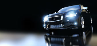 Nowożytny czarny kruszcowy sedanu samochód w świetle reflektorów Fotografia Stock