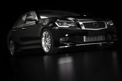 Nowożytny czarny kruszcowy sedanu samochód w świetle reflektorów Rodzajowy desing, brandless obrazy royalty free