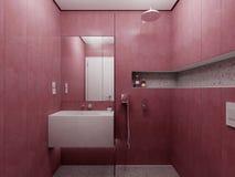 Nowożytny czerwony łazienka widok Fotografia Royalty Free