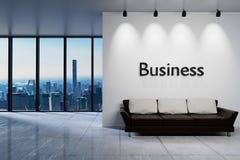 Nowożytny czysty biurowy czekanie terenu przyjęcie z linia horyzontu widokiem, ściana z biznesowym literowaniem, 3D ilustracja ilustracji