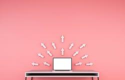 Nowożytny desktop wnętrze z laptopem i popielatym strzała 3D renderingiem Obraz Stock