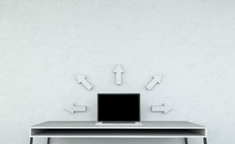 Nowożytny desktop wnętrze z laptopem i popielatym strzała 3D renderingiem Fotografia Stock