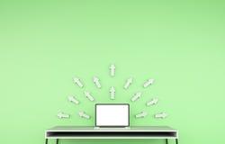 Nowożytny desktop wnętrze z laptopem i popielatym strzała 3D renderingiem Obraz Royalty Free