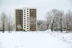 Nowożytny dom w Ryskim zimą Obrazy Stock