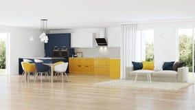 Nowożytny domowy wnętrze z żółtą kuchnią ilustracja wektor