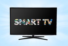 Nowożytny DOWODZONY TV z mądrze zastosowaniami Obraz Royalty Free