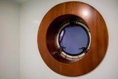 Nowożytny drewniany porthole fotografia royalty free