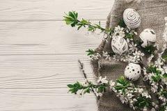 Nowożytny Easter mieszkanie nieatutowy eleganccy Easter jajka na nieociosanym białym drewnie Zdjęcia Royalty Free